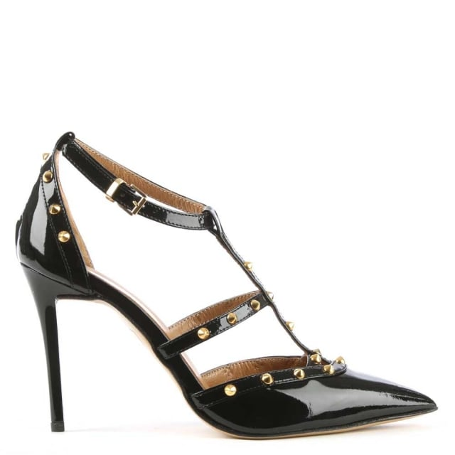 Tiff Black All Patent Studded Court Shoe