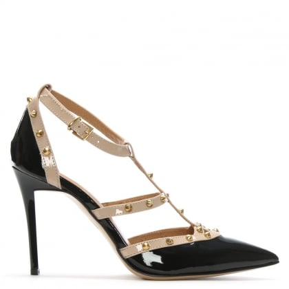 Tiff Black & Beige Patent Studded Court Shoes