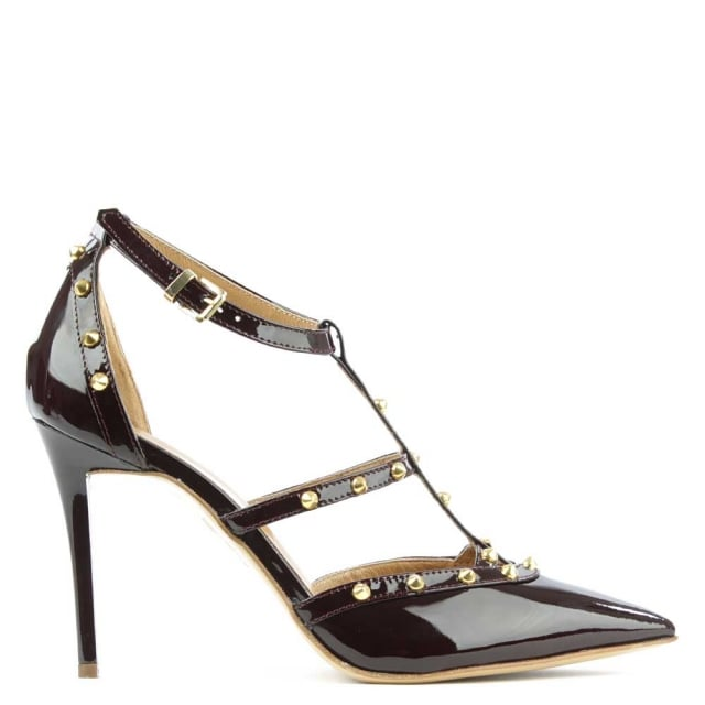 Tiff Brown Patent Studded Court Shoe
