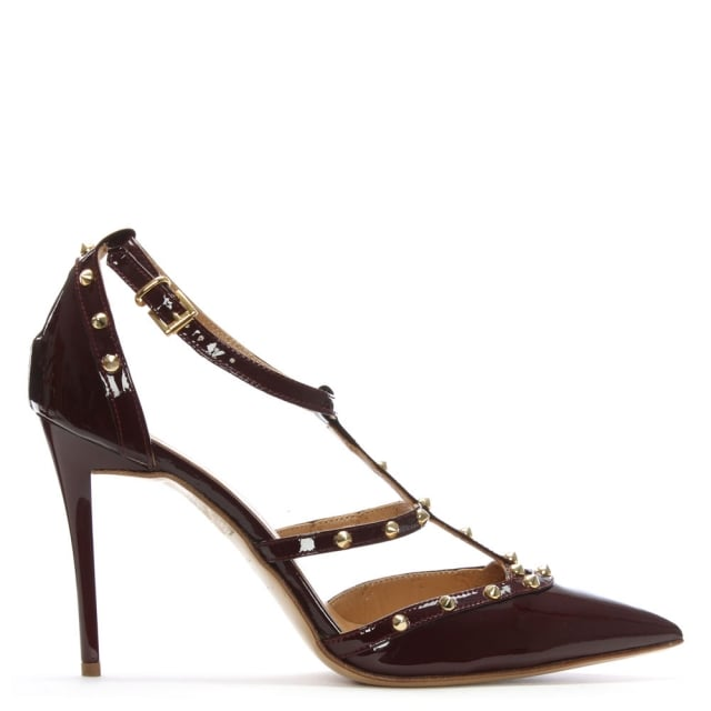 Tiff Burgundy Patent Studded Court Shoe