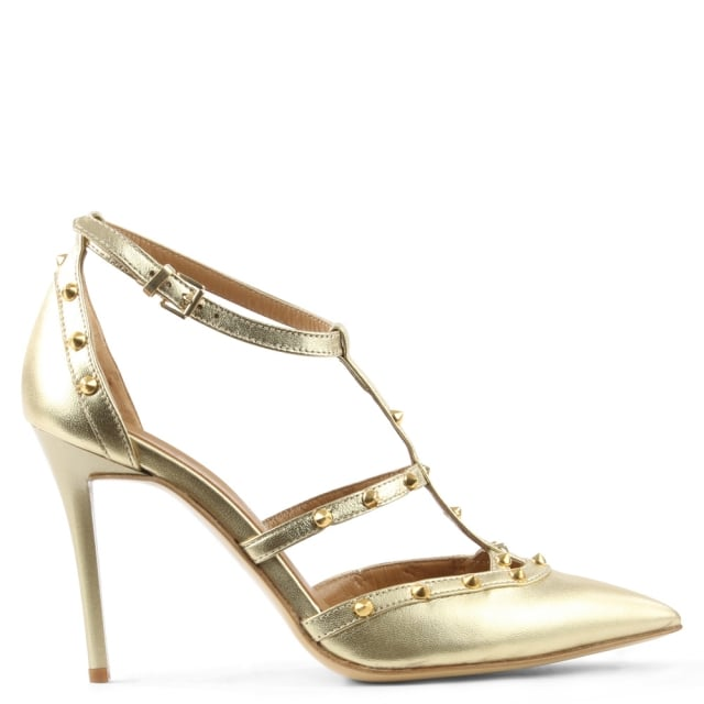 Tiff Gold Leather Studded Court Shoe