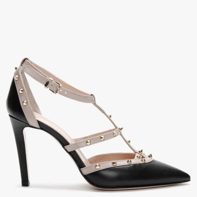Beige Leather Studded Court Shoes