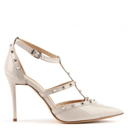 Daniel Tiff Pink Patent Studded Court Shoe