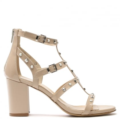 Tifftoff Beige Patent Leather Embellished Block Heel Sandal