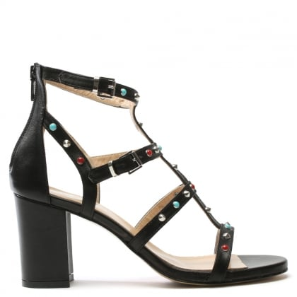 Tifftoff Black Leather Embellished Block Heel Sandal