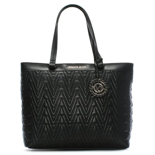 Versace Jeans Tilly Black Quilted Tote Bag