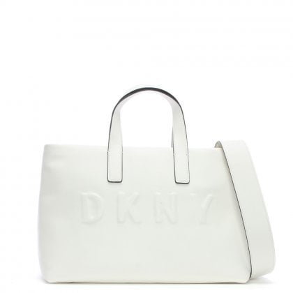 Tilly White Leather Logo Top Zip Tote Bag