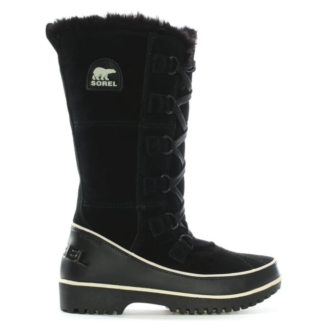 Tivoli High Black Leather Knee Snow Boot