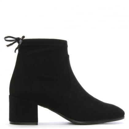 Tollar Black Stretch Suede Ankle Boots
