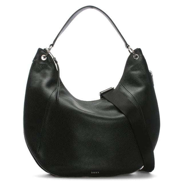 Tompson Black Pebbled Leather Hobo Bag