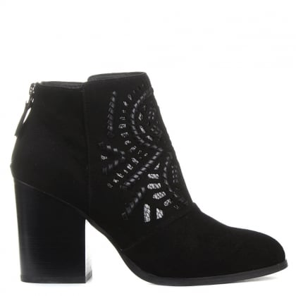 Toole Black Suede Laser Cut Ankle Boots