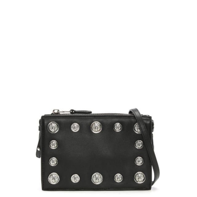 Versus Versace Top Zip Black Leather Lion Head Embellished Clutch Bag