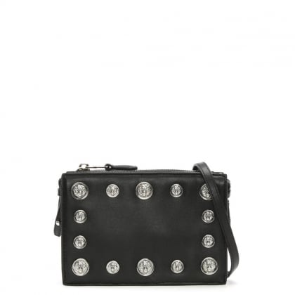 Top Zip Black Leather Lion Head Embellished Clutch Bag