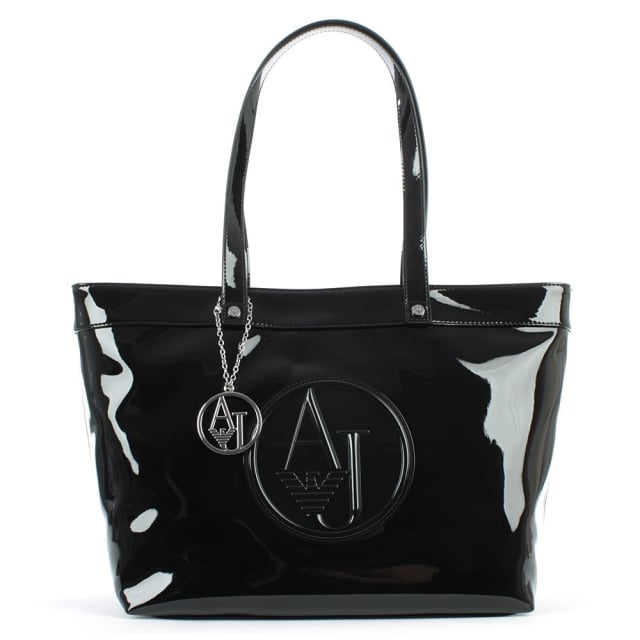 Top Zip Black Patent Shopper