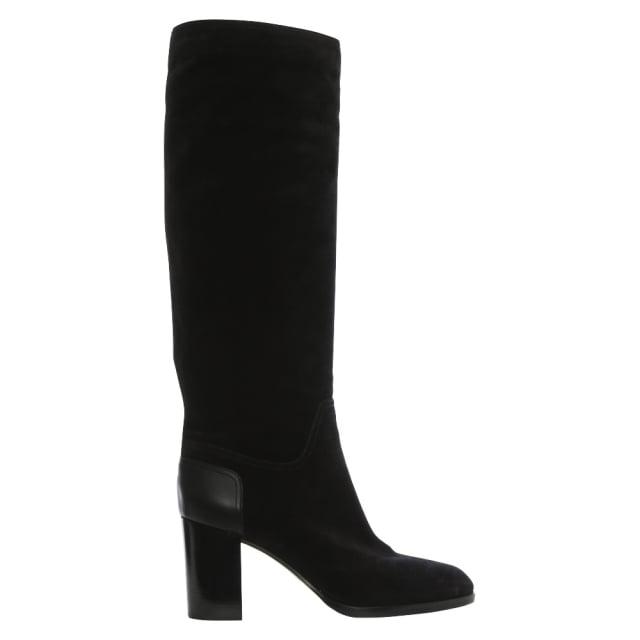 Sergio Rossi Toronto 75 Black Suede Knee Boots