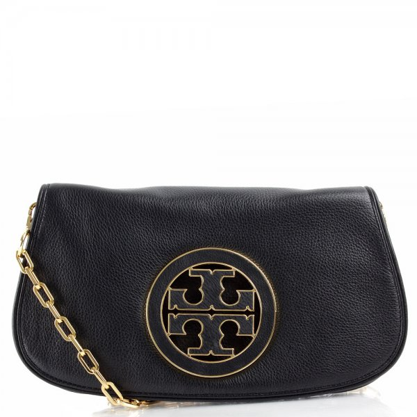 e5829796b480 Tory Burch Black Amanda Logo Clutch Women s Bag