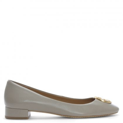 Chelsea Heel Grey Leather Ballet Pumps