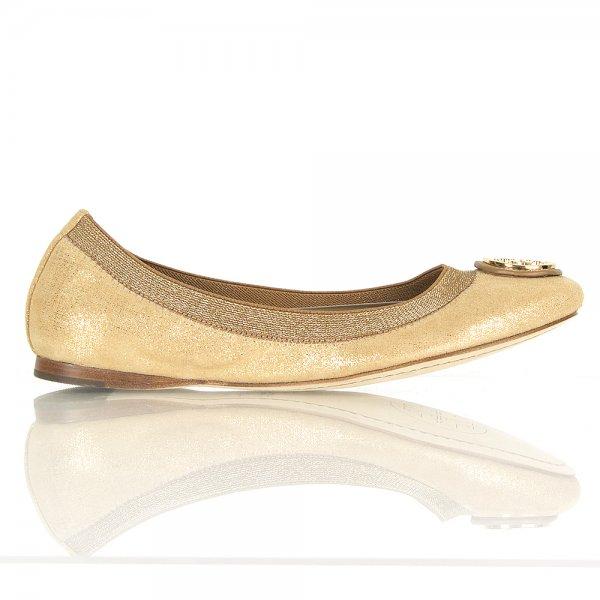 24cdf46e86f44e Tory Burch Gold Caroline Ballet Flat Women s Shoe