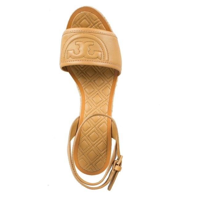 dfa079aa036 Tory Burch Marion 100MM Tan Leather Block Heel Espadrille
