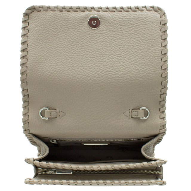 2578f6b3b13 Tory Burch Marion Combo French Grey Leather Whipstitch Cross-Body Bag