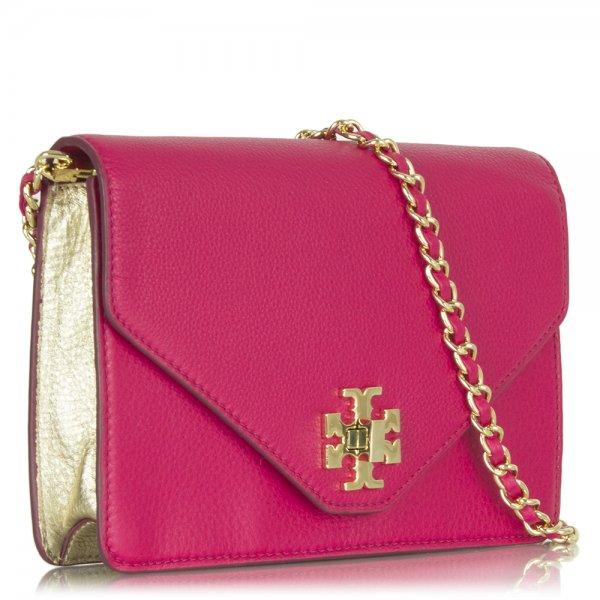 666b1c80d467 Tory Burch Pink Leather Kira Envelope Crossbody Bag