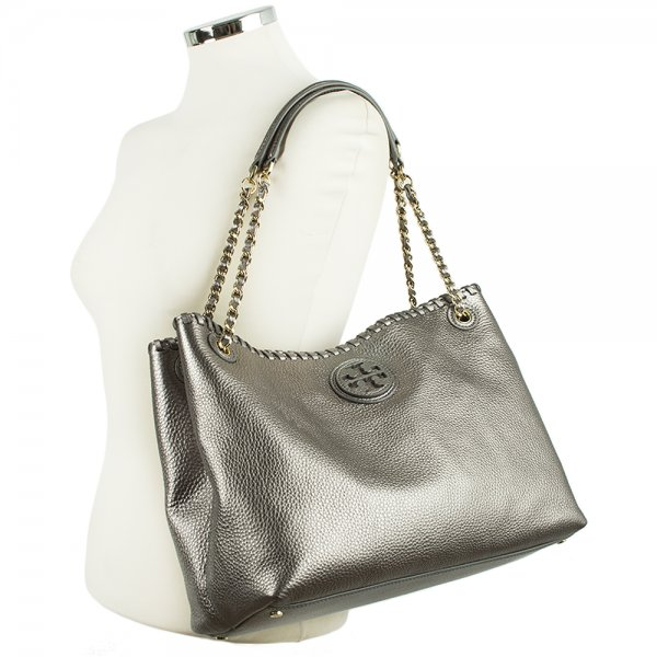 3c97f5fa573 Tory Burch Silver Leather Marion Chain Slouchy Tote Bag