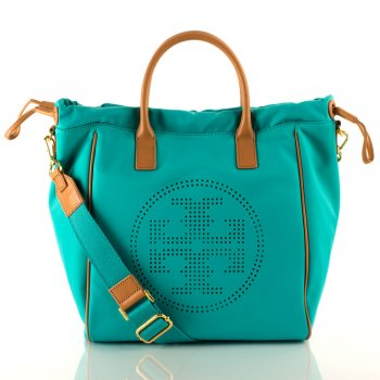 Turquoise Small Perf Drawstring Women's Tote Bag