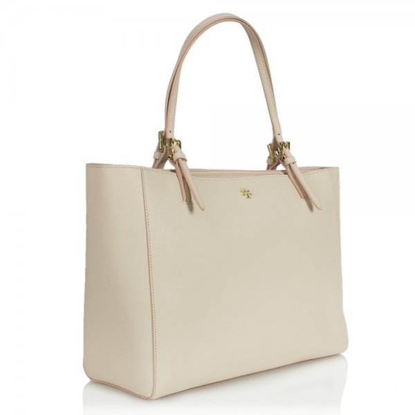 Tory Burch York Buckle Beige Leather Tote Bag d83a09637