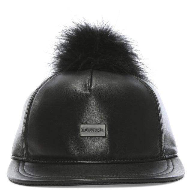 5cddf7b877a Australia Luxe Co. Touche Black Leather Pom Pom Cap