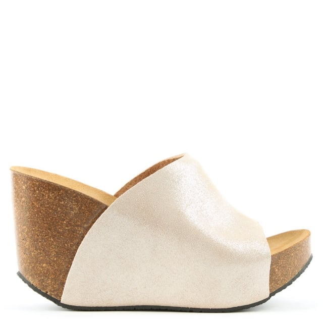 Toulston Gold Metallic Wedge Mule