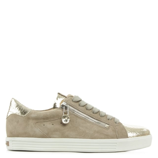 Towner Gold Metallic Leather Lace Up Trainer