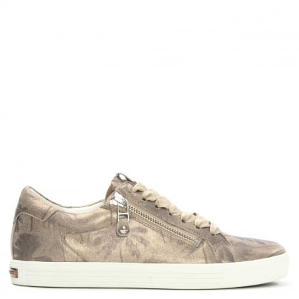 Towner Pewter Metallic Leather Palm Print Lace Up Trainer