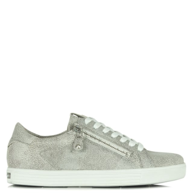 Towner Silver Metallic Leather Lace Up Trainer