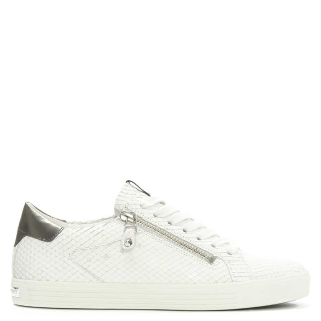 Towner White Reptile Leather Lace Up Trainer