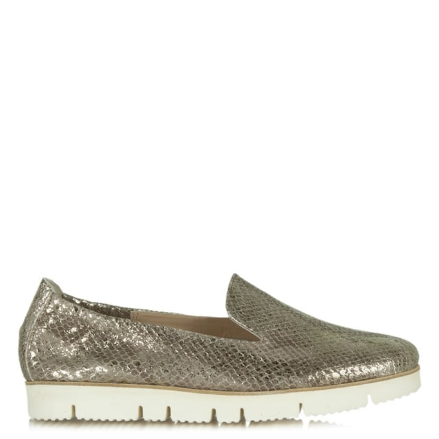 Toyger Bronze Metallic Suede Cleated Sole Loafer