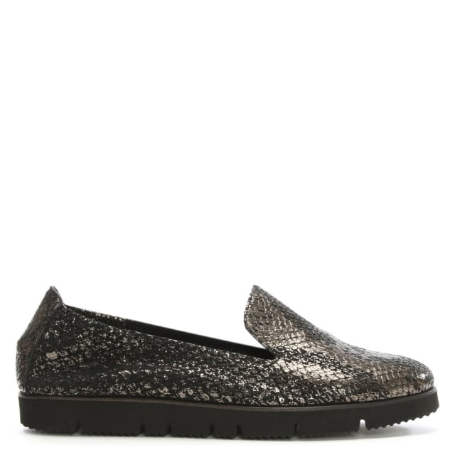 Toyger Brown Metallic Reptile Leather Loafers