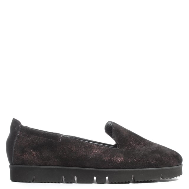 Toyger Burgundy Metallic Suede Cleated Sole Loafer