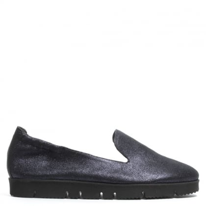 Toyger Navy Metallic Suede Cleated Sole Loafer