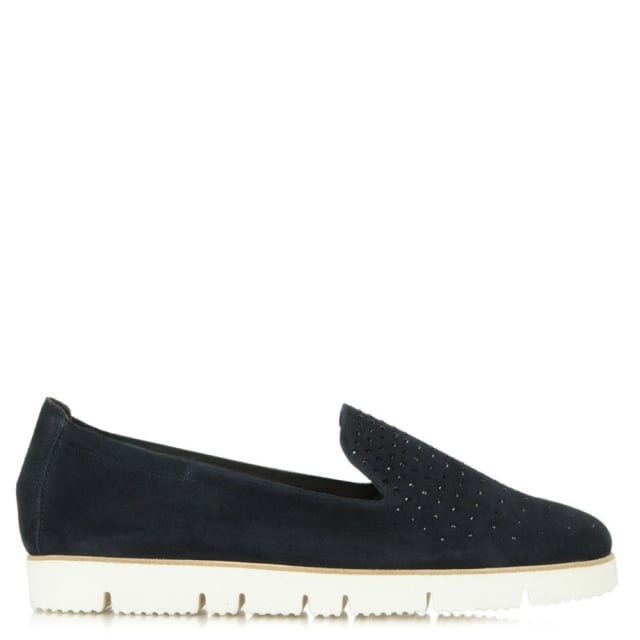 Toyger Navy Suede Cleated Sole Loafer