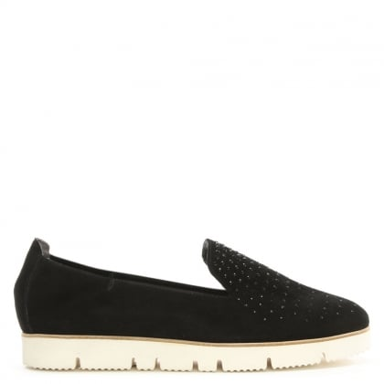Toyger Sparkle Black Suede Cleated Sole Loafer
