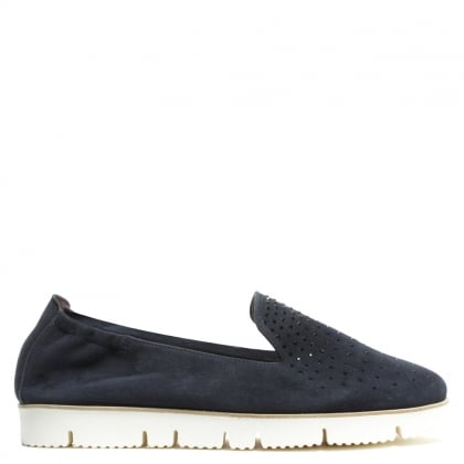 Kennel & Schmenger Toyger Sparkle Navy Suede Cleated Sole Loafer