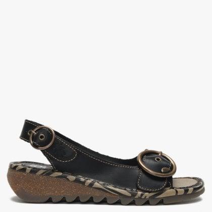 c70f6aff0fee7 Tram Black Leather Buckle Sandals. Sale. Fly London ...