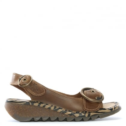 Tram Brown Leather Sling Back Sandals