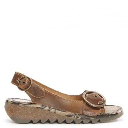 Tram Camel Leather Sling Back Low Wedge Sandal