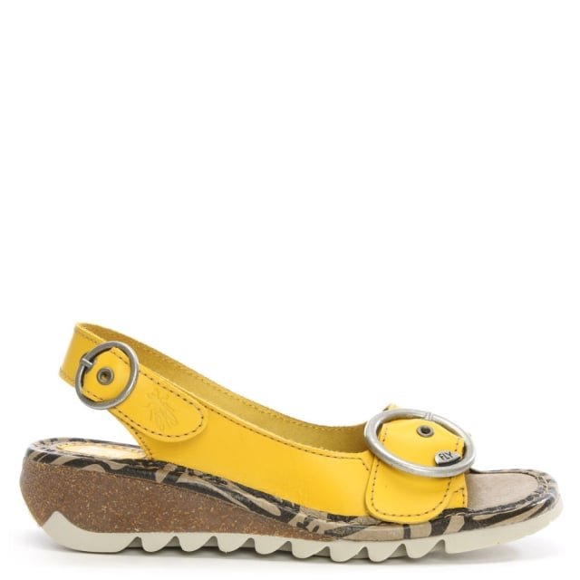 Tram Lemon Leather Sling Back Low Wedge Sandal