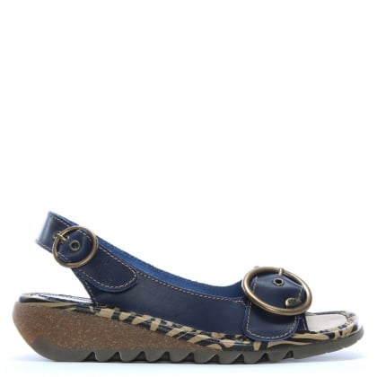 Tram Navy Leather Sling Back Sandals