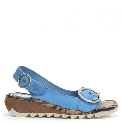 Tram Smurf Blue Leather Sling Back Low Wedge Sandal