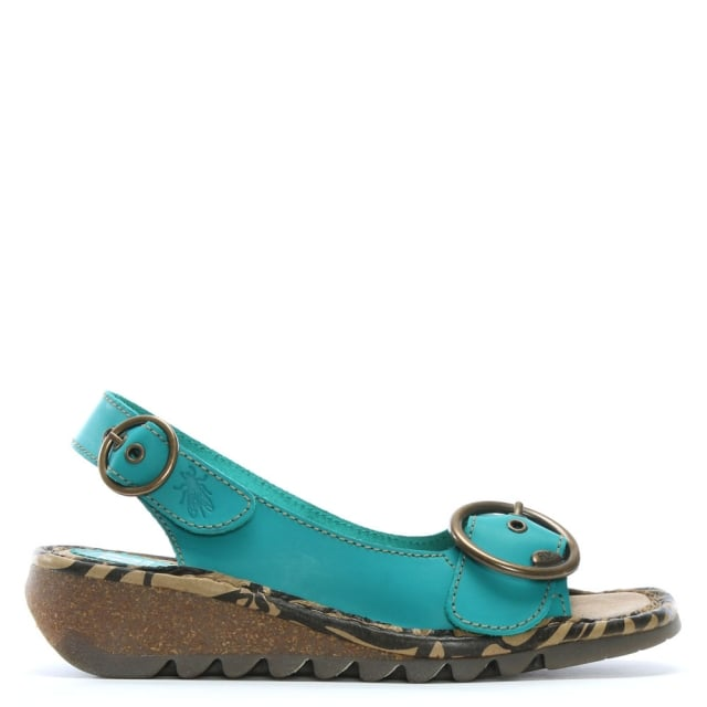 Tram Turquoise Leather Sling Back Sandals