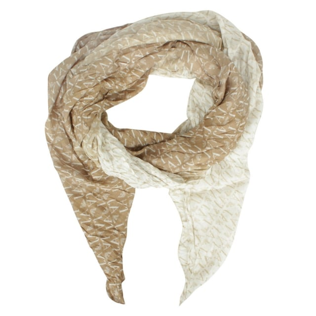 Tri Coloured Logo Beige Scarf