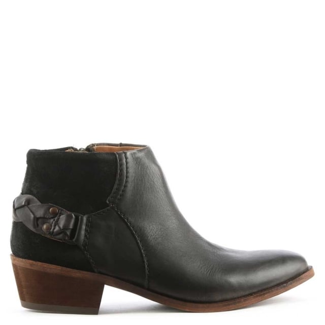 Triad Black Suede & Leather Western Ankle Boot